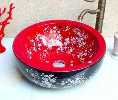 Színes, virágmintás két rétegű egyedi porcelán mosdó